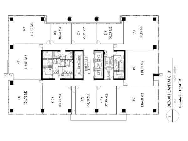 ITS Office Tower layout lantai 6, 8